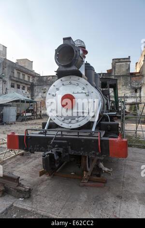 old American steam train in Steam Engine Museum, Havana, Cuba - Stock Photo