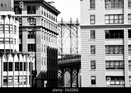 Manhattan Bridge as seen from the Dumbo neighborhood in Brooklyn. - Stock Photo