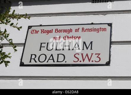 street name sign for fulham road, in the royal borough of kensington and chelsea, london, england - Stock Photo