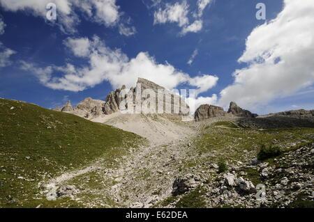 Dolomites near Lavaredo with cloudy sky - Stock Photo