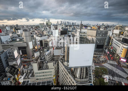 Aerial view over Shibuya Ward in Tokyo, Japan. - Stock Photo
