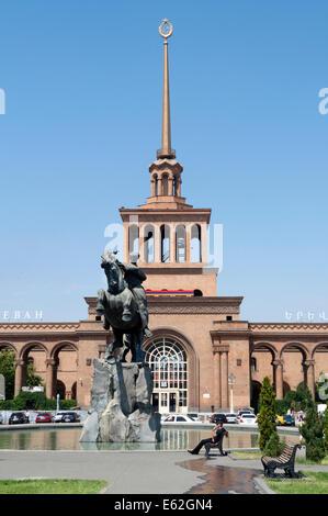 David of Sassoon (Sasuntsi Davit) horse statue in Central Train Station Square, Yerevan, Armenia - Stock Photo
