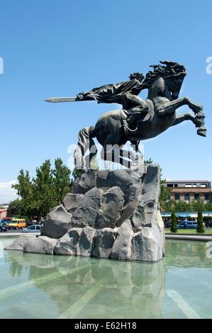 David of Sassoon (Sasuntsi Davit) horse statue, Yerevan, Armenia - Stock Photo