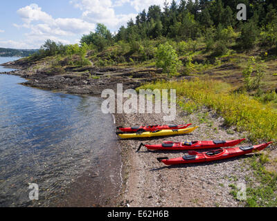 Summer in Oslo Norway, one activity is to rent sea kayaks, here they are  ready for a day from island to island - Stock Photo