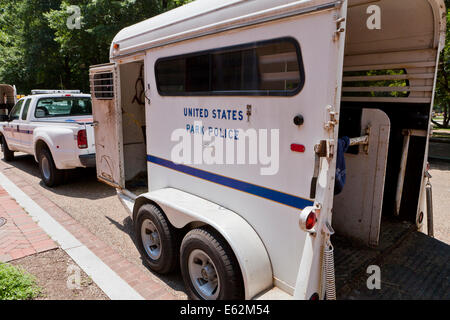 US Park Police Mounted Unit horse trailer - Washington, DC USA - Stock Photo
