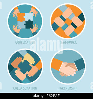 Teamwork and cooperation concept in flat style - partnership and collaboration icons - businessmen hands - Stock Photo