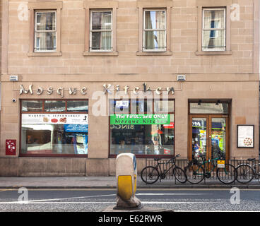 The Mosque Kitchen, a 'Curry in a Hurry' house in Nicholson Square, Edinburgh, opposite Edinburgh Central Mosque. - Stock Photo
