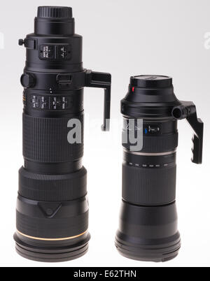 DSLR camera zoom lens design. Nikon 200-400mm and Tamron 150-600mm zooms side by side. - Stock Photo