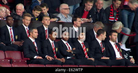 Manchester, UK. 12th Aug, 2014. ReUnited14 - Manchester United v Valencia. The first home game for new manager Louis - Stock Photo
