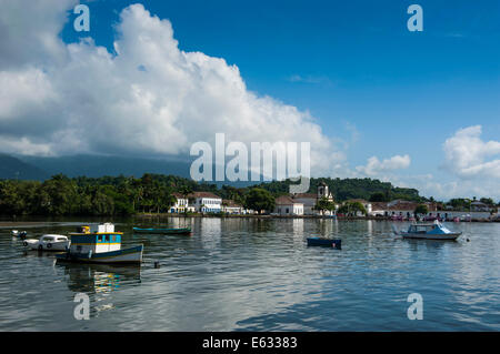 Boats in the harbour, Paraty, Rio de Janeiro State, Brazil - Stock Photo
