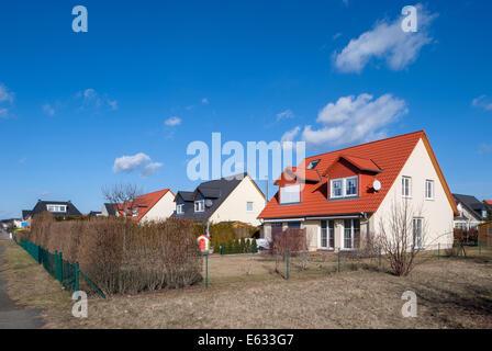 Berlin, Germany, new construction of single-family Doppelhaeusern in Berlin-Biesdorf - Stock Photo