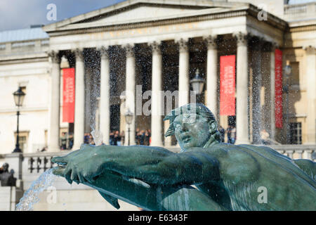 Trafalgar Square and National Gallery London UK - Stock Photo