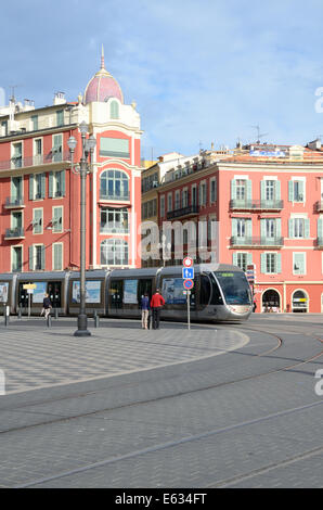 Place Massena, Town Square or Plaza & Tram or Tramway Nice Alpes-Maritimes France - Stock Photo