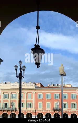 Historic Italianate Architecture & Arch on Place Massena or Massena Town Square Nice Alpes-Maritimes France - Stock Photo