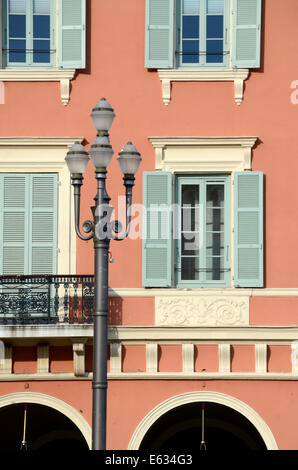 Italianate Facade of Historic Building, Architecture and Lamppost on Place Massena Nice Alpes-Maritimes France - Stock Photo