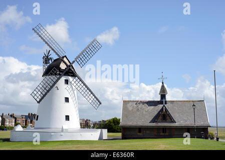 Lytham Windmill on the Seafront in Lytham, Lancashire, UK - Stock Photo