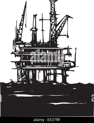 Woodcut Style image of a Deep sea offshore oil rig drilling on the ocean - Stock Photo