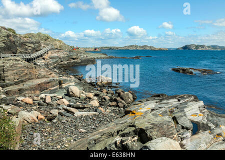 Hike around the rocky coast on the island of Stora Dyrön, Tjörn Municipality, Bohuslan, Västra Götaland County, - Stock Photo