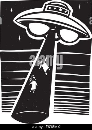 Alien AWoodcut style image an alien abduction at night with a flying saucer. - Stock Photo