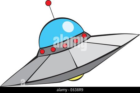 Retro Alien Flying Saucer with in mid-century modern style. - Stock Photo