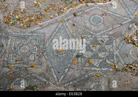Ancient floor roman mosaic geometric shapes motif abstract pattern and fallen leaves. Athens, Greece. - Stock Photo