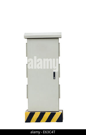 High voltage cabinet Isolated on  white background - Stock Photo