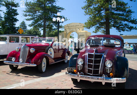 Vintage cars on display during the Tremains Art Deco Weekend  at Napier in the Hawke's Bay Region, North Island, - Stock Photo