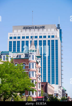 Downtown Boise Skyline,The Idanha Hotel built in 1901 is dwarfed by the new Zion Bank Building, Boise, Idaho - Stock Photo