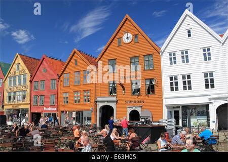 Bryggen waterside warehouses, Bergen, Bergenshalvøyen, Midhordland, Hordaland, Vestlandet, Norway, Scandinavia, - Stock Photo