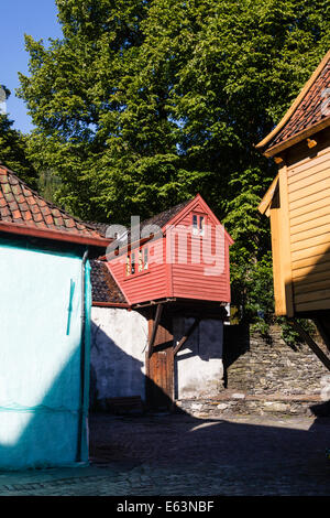 Colourful wooden warehouses at Bryggen, Bergen, Norway - Stock Photo