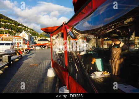 Alfresco restaurant by the Fish Market in Bergen, Norway - Stock Photo