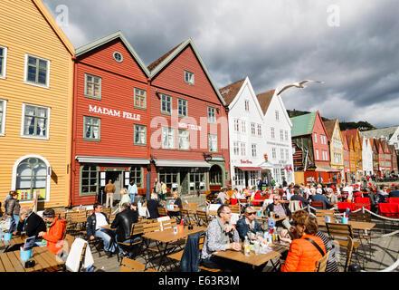 Outdoor terraces at Bryggen, Bergen, Norway - Stock Photo