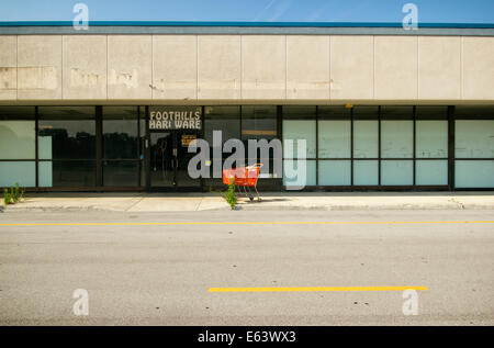 An empty storefront in an abandoned strip mall with a red shopping cart out front. - Stock Photo