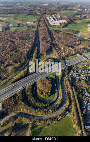 Aerial view of the A2 and A31 motorway junction, Friesenspieß Bottrop-Nord, Bottrop, Ruhr district, North Rhine - Stock Photo
