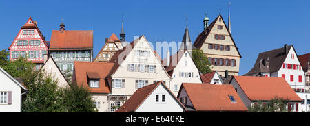 Historic centre with half-timbered houses, Town Hall and Stadtkirche church, Bietigheim-Bissingen, Baden-Württemberg, Germany Stock Photo