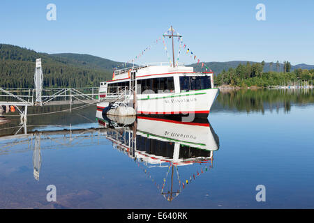 Excursion boat on lake Schluchsee, Black Forest, Baden-Württemberg, Germany - Stock Photo