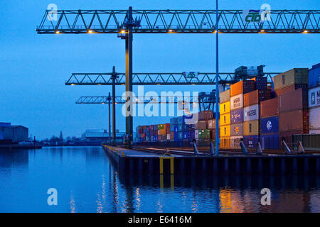 Container Terminal Dortmund or CTD, in the harbor, Dortmund, Ruhr district, North Rhine-Westphalia, Germany - Stock Photo