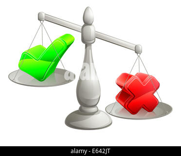 Scales illustration with a green tick and red cross on it, the red cross being heaviest - Stock Photo