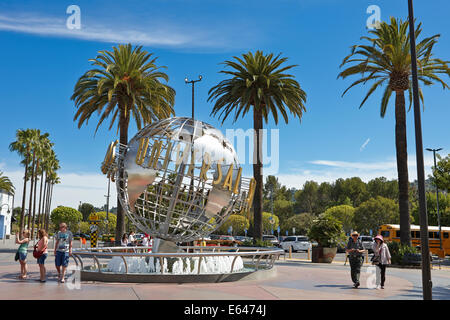 Universal Studios Globe in front of the Universal amusement park in Universal City. Los Angeles, California, USA. - Stock Photo