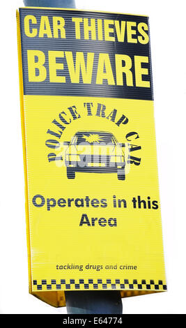 Beware car thieves police yellow warning sign isolated on white background - Stock Photo