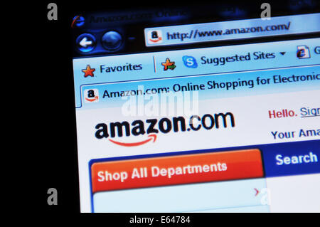 LONDON, UK - FEBRUARY 3, 2011: Close up of Amazon online shopping website home page (illustrative editorial) - Stock Photo