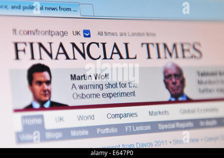 LONDON, UK - MARCH 8, 2011: Close up of Financial times website with financial and business news on laptop screen - Stock Photo