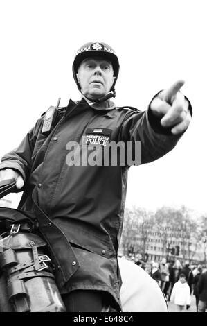 LONDON, UK - MARCH 5, 2011: Mounted policeman at Buckingham Palace in London, UK - Stock Photo