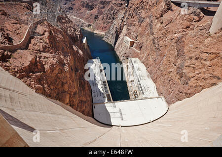 View of the Hoover Dam in the Black Canyon of the Colorado River, on the border between the U.S. states of Nevada - Stock Photo