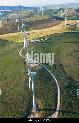 Aerial view of wind turbines Huelva Province, Spain - Stock Photo