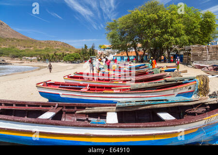 Fishing boats on beach, Tarrafal, Santiago Island, Cape Verde - Stock Photo