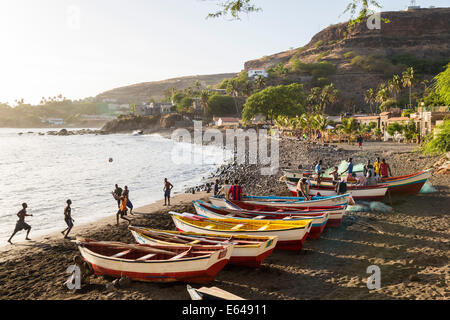 Fishing boats on beach, Cidade Velha, Santiago Island, Cape Verde - Stock Photo