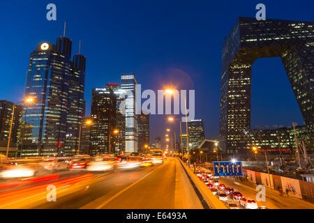 Central Business District & CCTV building at dusk, Beijing, China - Stock Photo