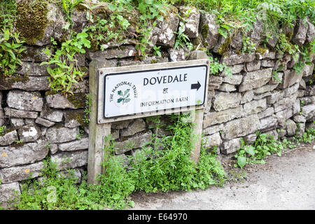 sign saying Dovedale and information barn Milldale on Staffordshire, Derbyshire border, Peak District National Park, - Stock Photo