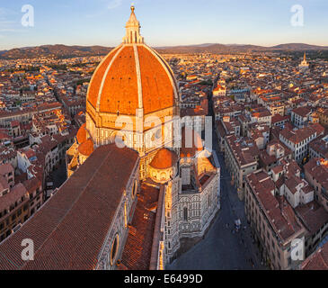 Duomo Santa Maria del Fiore and Skyline Over Florence, Italy - Stock Photo